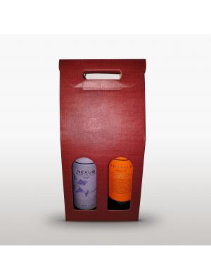 Caja 2 Botellas Color Burdeos